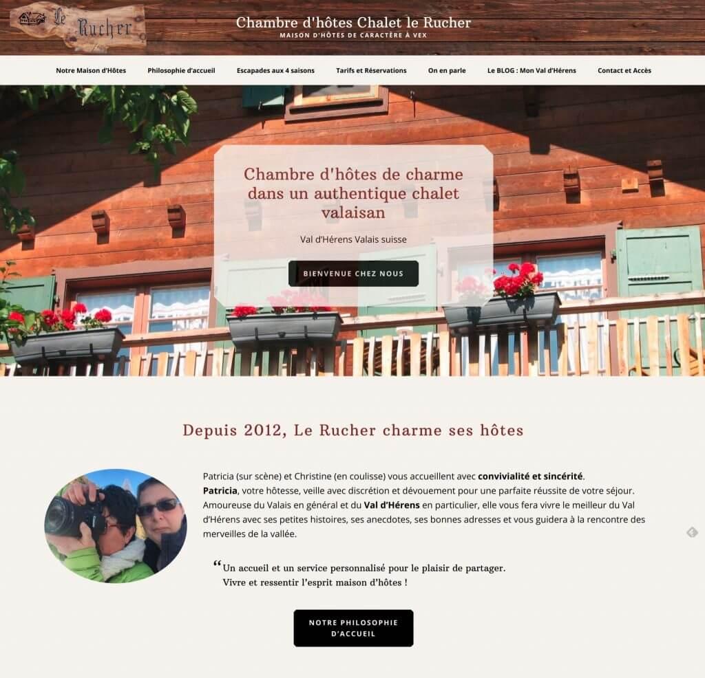 page d'accueil chalet le rucher
