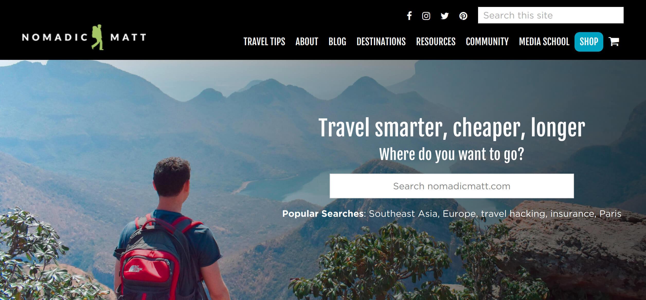 page d'accueil de Nomadic Matt