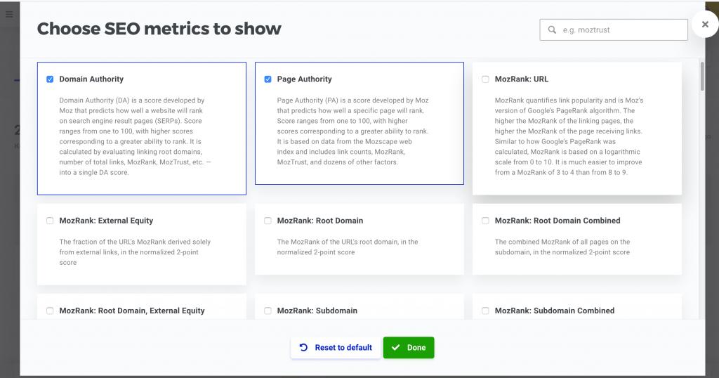 réglages metrics