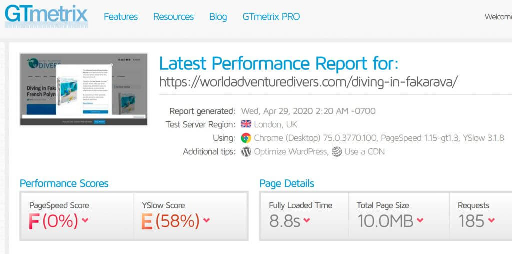 vitesse article worldadventure divers avant optimisation