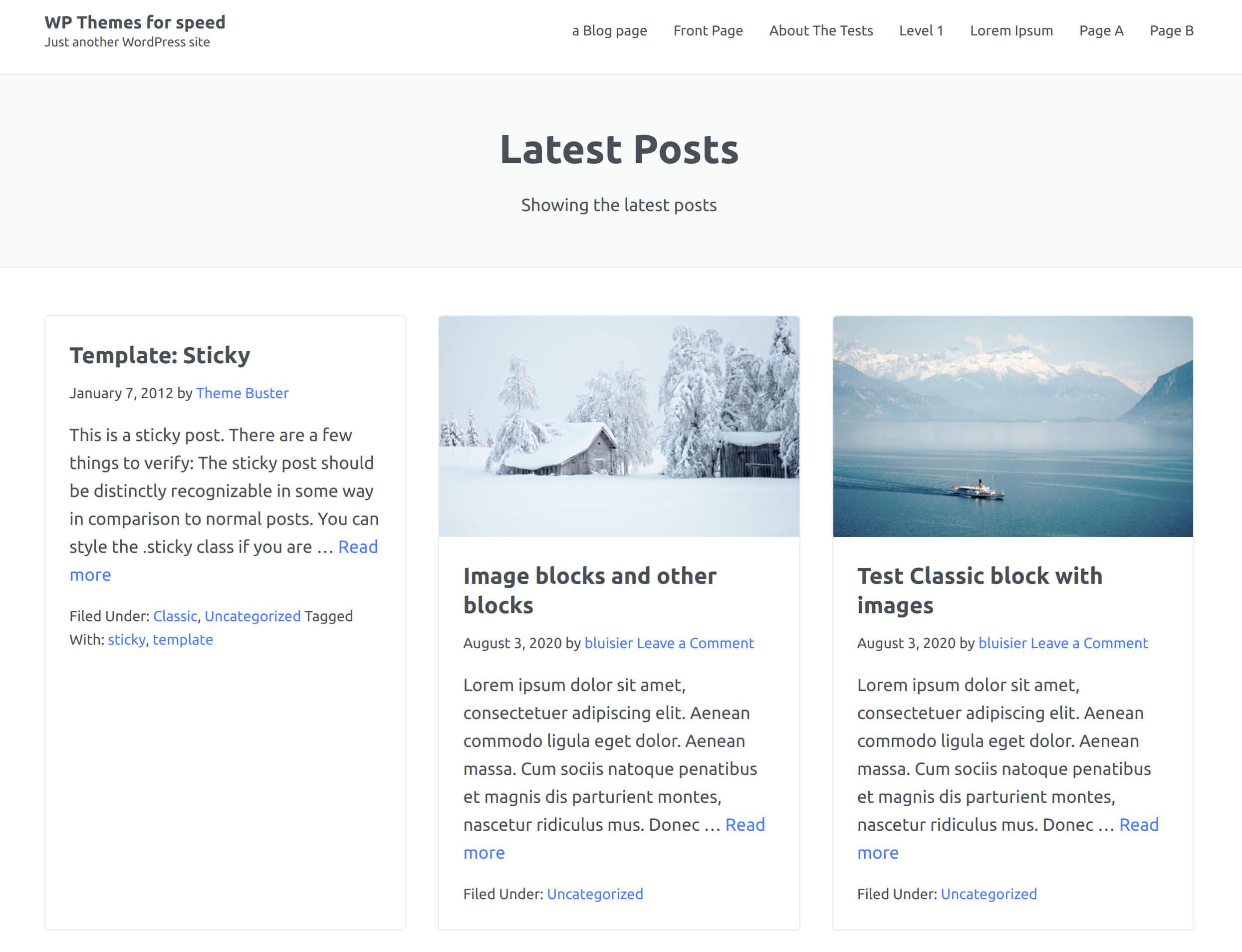 comparaison thème wp rapide page d'accueil