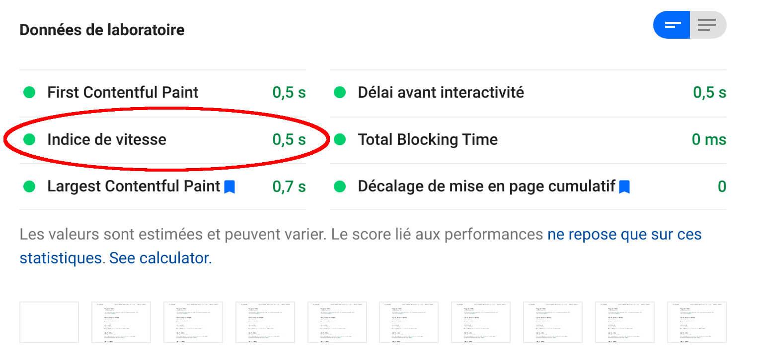 speed index google page speed