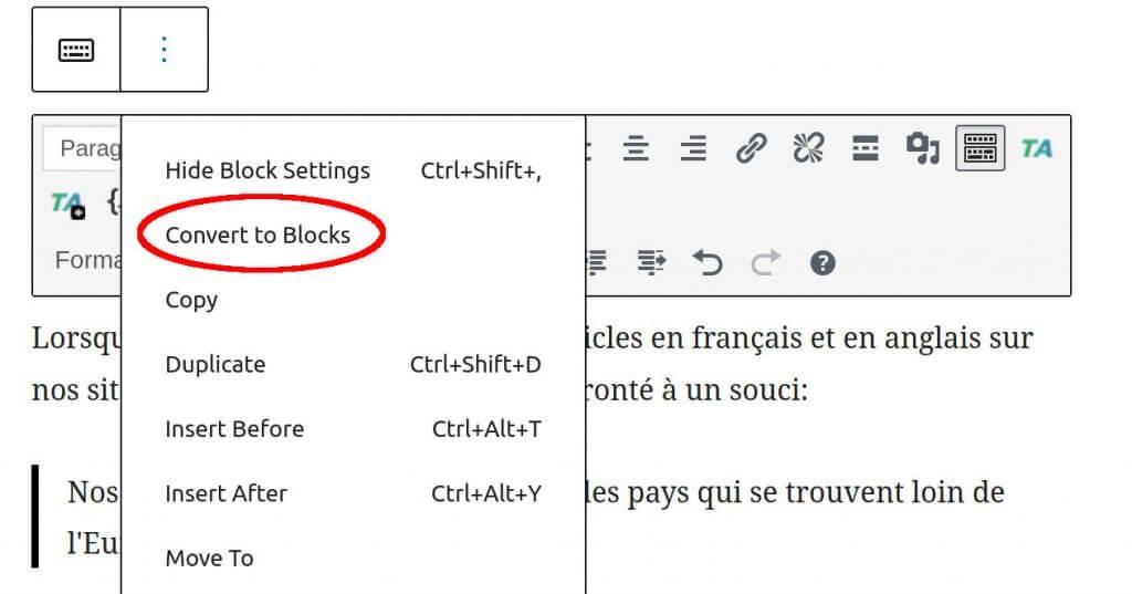 convert to gutenberg blocks