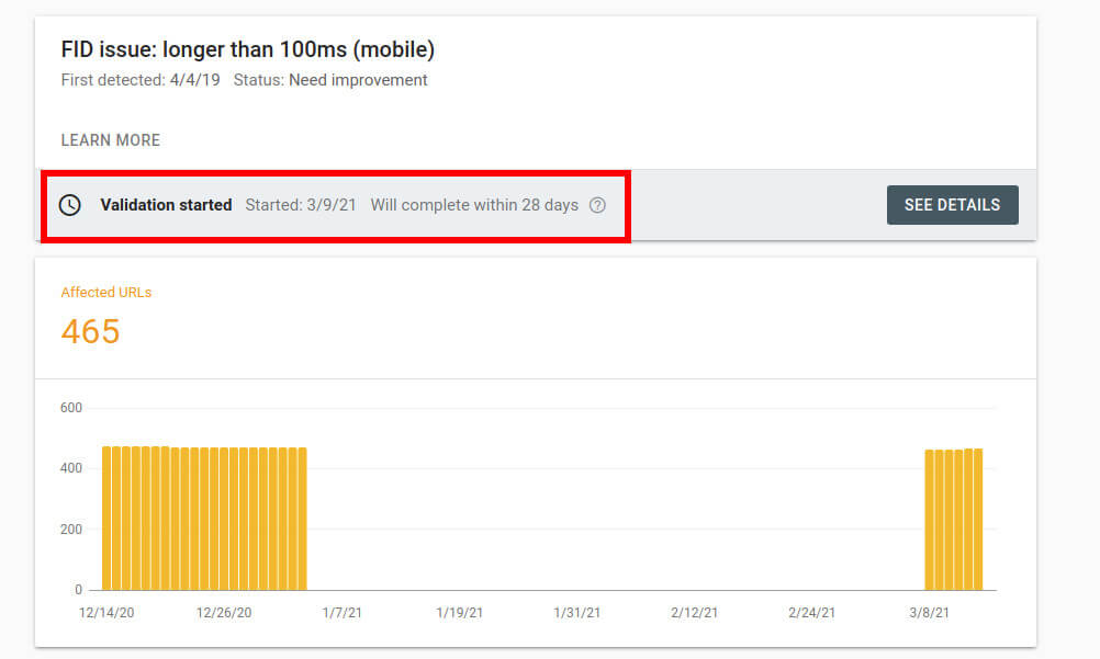 core web vitals validation in google search console
